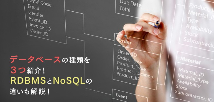データベースの種類を3つ紹介!RDBMSとNoSQLの違いも解説