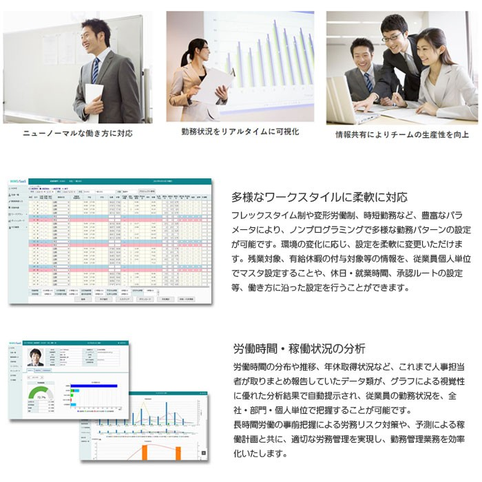 「WiMS/SaaS 勤務管理システム」画面イメージ