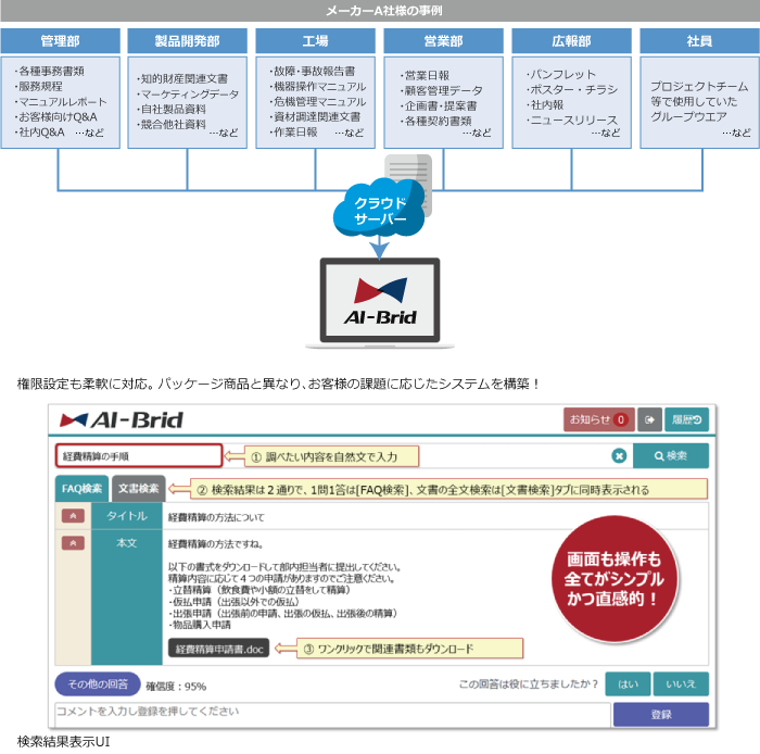 FAQ検索と文書検索が同時にできる AI-Brid製品詳細2