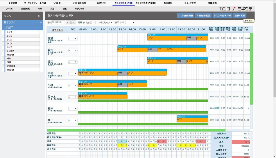 幹部の右腕 シフト表・タスク分担表・スマートレジ製品詳細2
